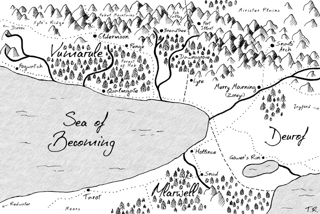 A map of the portion of Kyland in which The War of Undoing takes place. This was made by my friends Loricha Honer and Gavin Laing, who also made the cover for the book.